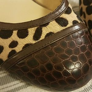 Audrey Brooke Shoes - Audrey Brooke leather + faux cheetah strapped heel